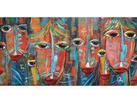 "Metalen schilderij ""Colourful masks"" TBW001885sc"