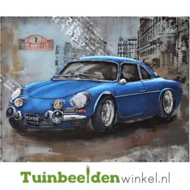 """Metalen schilderij """"De blauwe Porsche"""" TBW000660"""