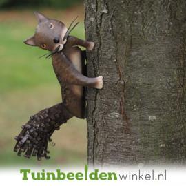 Metalen tuinbeeld figuur ''De nieuwsgierige eekhoorn'' TBW12056