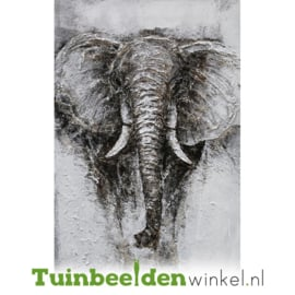 Olieverf schilderij dieren ''De indrukwekkende olifant'' TBW004160