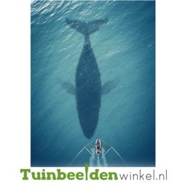 """Dieren schilderij van RVS """"De walvis"""" TBW051sc 70x118 cm"""
