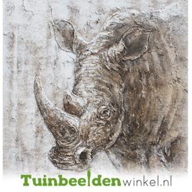 Olieverf schilderij dieren ''De neushoorn'' TBW000558