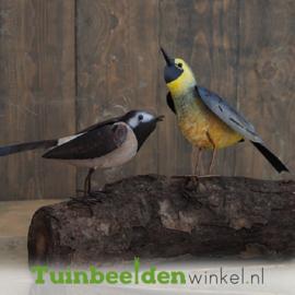 """Metalen tuinbeeld figuur """"De twee vogeltjes op een boomstam"""" TBW16003me"""