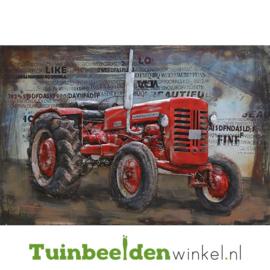 """Metalen schilderij """"De rode tractor"""" TBW000883 80x120 cm"""