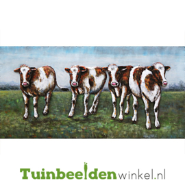 Metalen schilderij ''De vier koeien'' TBW001435