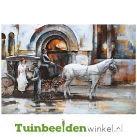 """Metalen schilderij """"Paard en wagen"""" TBW001337 80x120 cm"""