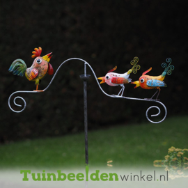 """Metalen tuinbeeld figuur """"De tjirpende vogeltjes"""" TBW16034me"""