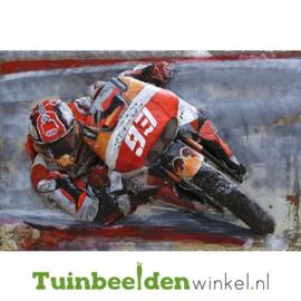 """Metalen schilderij """"Motorrijder nr 93"""" TBW000886 80x120 cm"""