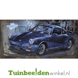 """Metalen schilderij """"Donkerblauwe Porsche"""" TBW000744"""