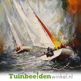 Olieverf schilderij ''Zeilen op de wilde zee'' TBW003818
