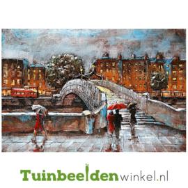 """Metalen schilderij """"Regenachtige dag in de stad"""" TBW001161 80x120x5 cm"""