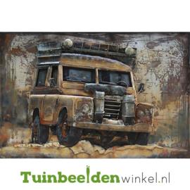 """Metalen schilderij """"De Landrover"""" TBW000745 80x120 cm"""