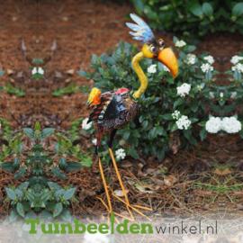 """Metalen tuinbeeld figuur """"De unieke flamingo"""" TBW15534me"""