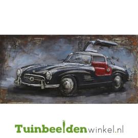 """Metalen schilderij """"Zwarte oldtimer met rode bekleding"""" TBW000878"""