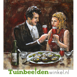 """Metalen schilderij """"Romantisch diner"""" TBW6060009sc 60x60 cm"""