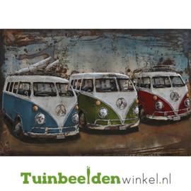 """Metalen schilderij """"De drie volkswagenbusjes"""" TBW000755 80x120 cm"""
