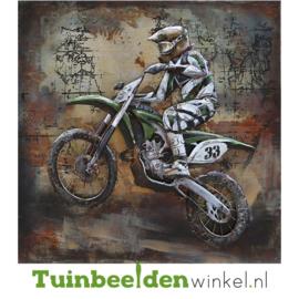 """Metalen schilderij """"De motorracer"""" TBW000751"""