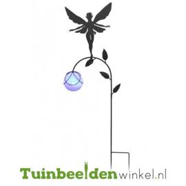 Tuinsteker solar ''Fee met glazen paarse bal'' Tbw0871pr78