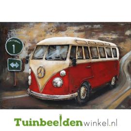"""Metalen schilderij """"Het rode volkswagenbusje"""" TBW000465 80x120 cm"""