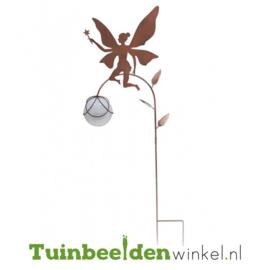 Tuinsteker solar ''Fee met glazen witte bal'' Tbw0871pr81