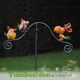 """Metalen tuinbeeld figuur """"De vrolijke papegaaitjes"""" TBW16033me"""