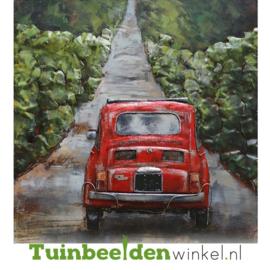"""Metalen schilderij """"De rode Fiat"""" TBW000889"""