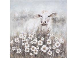 Olieverf schilderij dieren ''Witte koe'' TBW60009sc