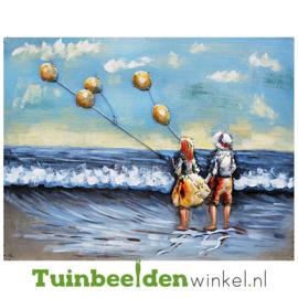 """Metalen schilderij """"Vliegeren op het strand"""" TBW001212"""