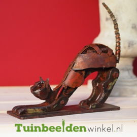 """Metalen tuinbeeld figuur """"De speelse kat"""" TBW310026me"""