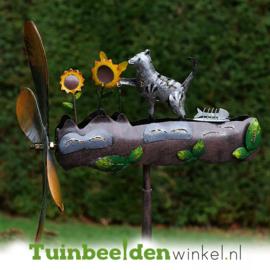 Metalen tuinbeeld figuur ''De kat en de zonnebloemen'' TBW16082