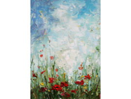 """Olieverf schilderij bloemen """"Rode bloemen"""" TBW5681sc"""