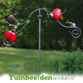 Metalen tuinbeeld figuur ''De lieveheersbeestjes'' TBW16111