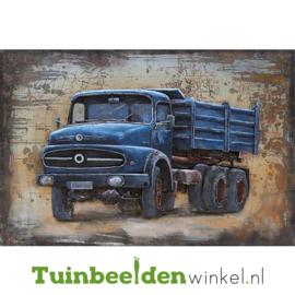 """Metalen schilderij """"De blauwe vrachtauto"""" TBW000743 80x120 cm"""