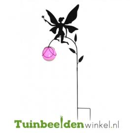 Tuinsteker solar ''Fee met glazen roze bal'' Tbw0871pr79