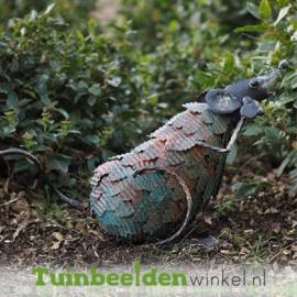 """Metalen tuinbeeld figuur """"De nieuwsgierige muis"""" TBW12281me"""