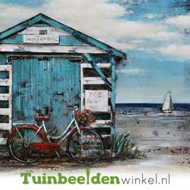 Metalen schilderij ''Het strandhuisje'' TBW001227