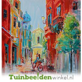 Olieverf schilderij ''De kleurrijke straat'' TBW006250