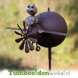 Metalen tuinbeeld figuur ''De kleine kat'' TBW17028