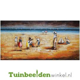 """Metalen schilderij """"Spelen op het strand"""" TBW001370"""