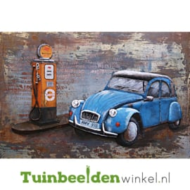 """Metalen schilderij """"Tankende blauwe eend"""" TBW000897 120x80 cm"""