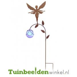 Tuinsteker solar ''Fee met glazen paarse bal'' Tbw0871pr82