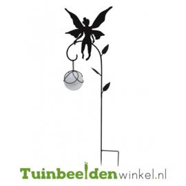 Tuinsteker solar ''Zwarte fee met glazen witte bal'' Tbw0871pr80