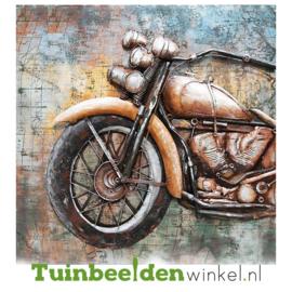 """Metalen schilderij """"Bruine motor"""" TBW001165"""