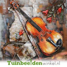 Metalen schilderij ''Viool spelen'' TBW000328