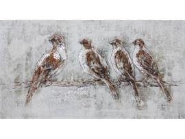 """Olieverf schilderij dieren """"Musjes op tak"""" TBW0048sc"""