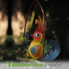 "Metalen tuinbeeld figuur ""De papegaai"" TBW16013me"