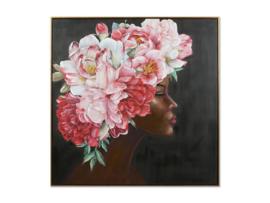 """Olieverf schilderij vrouw """"Roze bloemenhoed"""" TBW27202sc"""