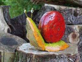 """Metalen tuinbeeld figuur """"De rode slak"""" TBW16166me"""