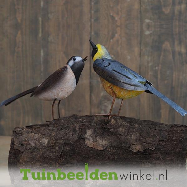 """Metalen tuinbeeld figuur """"De opkijkende vogeltjes"""" TBW16000me"""