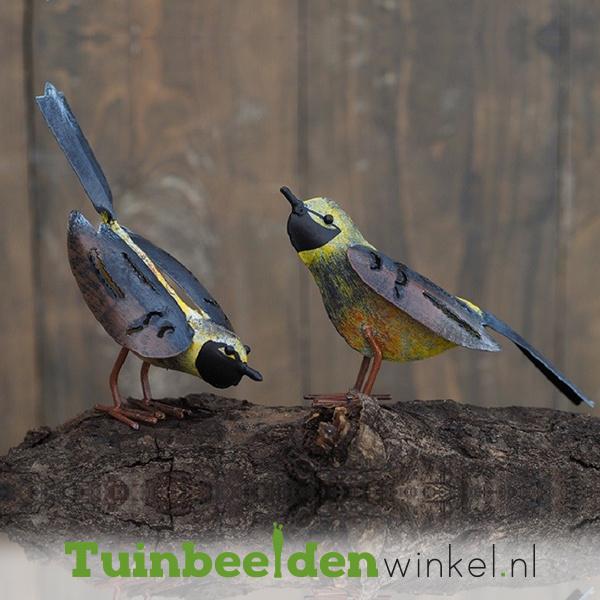 """Metalen tuinbeeld figuur """"De gele vogeltjes"""" TBW16004me"""